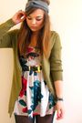 Green-h-m-cardigan-silver-primark-dress-brown-vintage-belt-gray-babooshka-