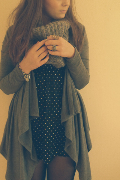 blue Dorothy Perkins dress - asos cardigan - gold Primark accessories - gold new