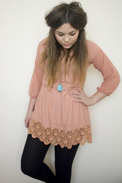 light pink long sleeved Topshop dress - turquoise blue large stone Forever 21 ne