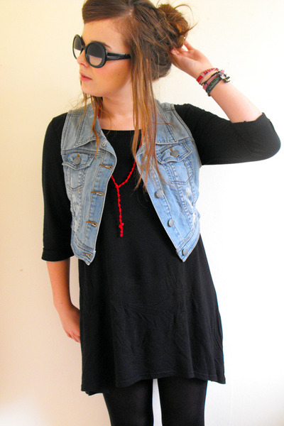 black Girl Props sunglasses - black H&M dress - blue denim George At Asda coat