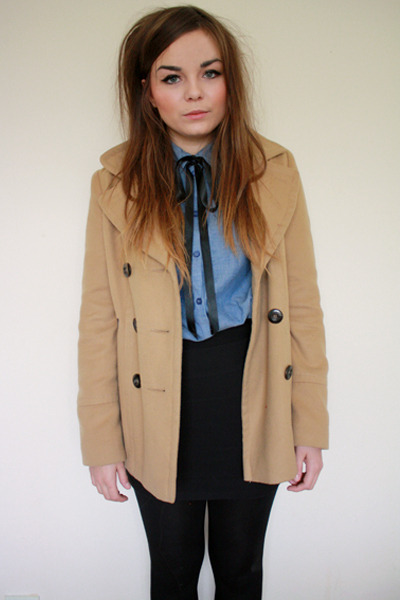 camel new look coat - light blue H&M shirt - black H&M skirt - black Craft store