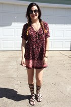 kimono Urban Outfitters dress - kylie  kendall PacSun sunglasses - DSW sandals