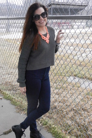 grey Forever 21 sweater - American Apparel jeans - Bauble Bar accessories
