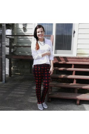 plaid Zara pants - grey Urban Outfitters shoes - Forever 21 shirt