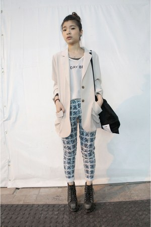 creamy suit - the day begin top - patten pants