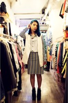 light blue blue shirt - white suit - black Tasty skirt