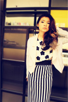 mix colour pull&bear jacket - flower Allied Plaza top - straight Tasty skirt