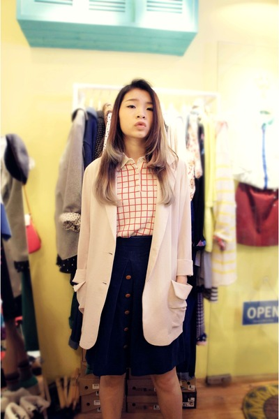 creamy korea coat - Tasty hat - blue corduroy korea skirt - red line Uniqlo top