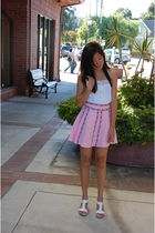 pink skirt - white shirt - white shoes