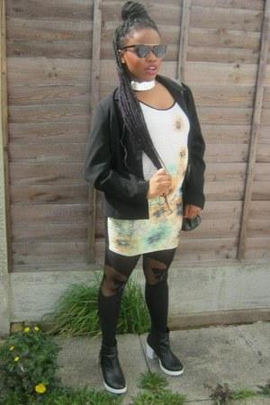 black fitted blazer H&M blazer - white Forever 21 dress - black Primark tights
