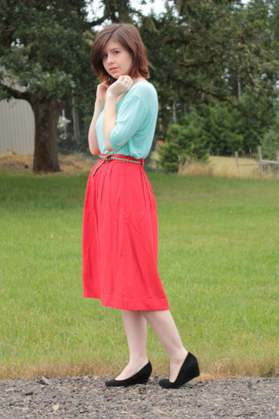 red Forever 21 skirt - black Target heels - aquamarine Forever 21 top
