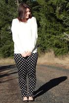 black polka dot Forever 21 pants - off white Forever 21 sweater