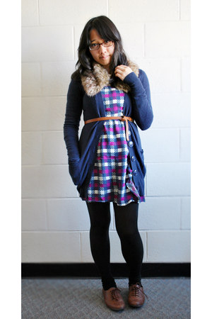 dark brown Target shoes - deep purple Forever 21 dress - brown Forever 21 scarf