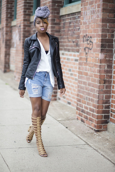 Zara jacket - asos shorts - michael antonio sandals