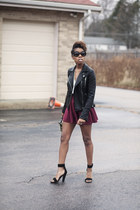 Zara jacket - Prada sunglasses - brick red skater skirt Locks and Trinkets skirt
