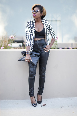 checkered Missguided blazer - high waist asos jeans