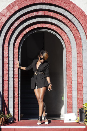 Zara blazer - escada belt - barnes Jeffrey Campbell heels