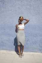pencil skirt asos skirt - crop top American Apparel top - Zara flats