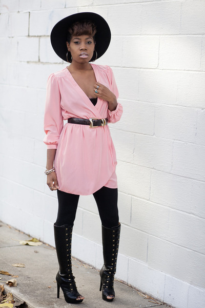 Shoedazzle boots - wrap dress Electric Frenchie dress - asos hat