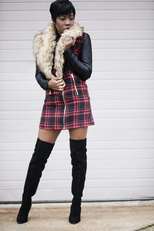 Aldo boots - plaid Missguided coat