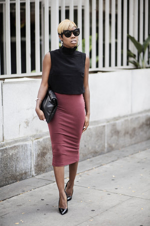 pencil skirt asos skirt - crop top asos top - Theyskens Theory heels