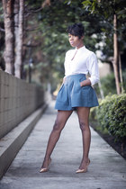 key hole vintage blouse - faux leather Forever 21 skirt