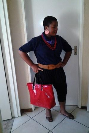 red bag - brown belt - accessories