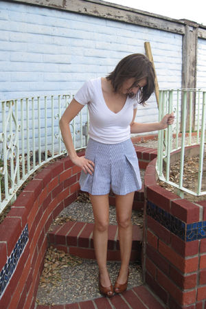 blue American Apparel shorts - white abercrombie & fitch shirt - brown thrifted