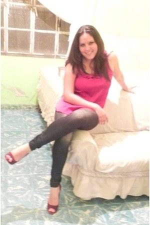 street style leggings - satin Shasa blouse - Nine West heels