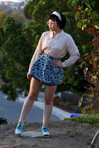ivory saddle BDG shoes - beige polka dot vintage blouse - H&M skirt - ivory head
