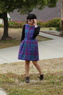 Purple-plaid-thrifted-vintage-jumper-black-scoop-neck-american-apparel-top-d