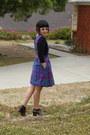 Purple-plaid-thrifted-vintage-jumper-black-scoop-neck-american-apparel-top-d