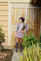 hat - knee high HUE socks - lace Forever 21 skirt - penny Urban Outfitters loafe