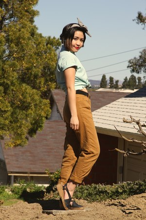 burnt orange high waist vintage pants - aquamarine button up vintage shirt