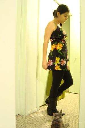 dress - boots - blazer