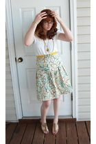 Lilly Pulitzer skirt - yellow belt - gold necklace - white Ann Taylor Loft shirt