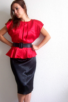Sultry Black & Red SATIN 80's Dress