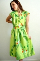 Watercolor bright floral 60's Dress