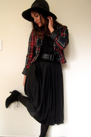 vintage dress - plaid blazer H&amp;M blazer
