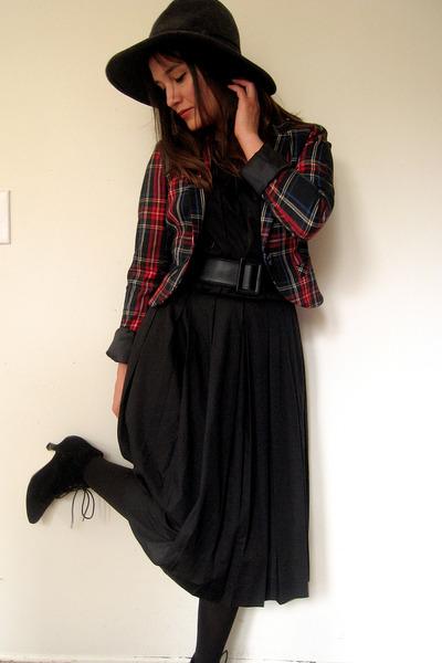 vintage dress - plaid blazer H&M blazer