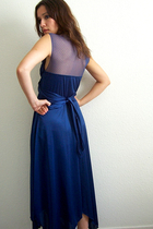Deep Blue Wrap Bodice 70's Dress with Lace