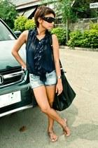 Mango bag - Mango shorts - Glitterati sunglasses - Zara sandals - casio watch -