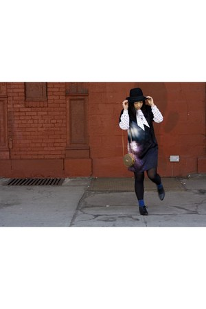 blue Hussein Chalayan dress - black H&M hat - light brown thrifted bag - blue JC