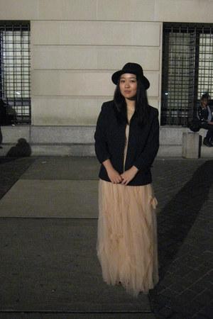 black thrifted blazer - peach tulle vintage skirt - peach tulle vintage top