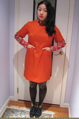 carrot orange dress - black glitter tights - red floral blouse