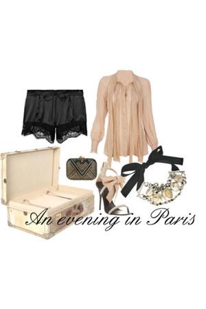 haute hippie blouse - Lovers Lace shorts - judith leiber purse - Guisseppe Zanot