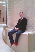red Kurt Geiger shoes - blue banana republic pants - gray Muji cardigan - black