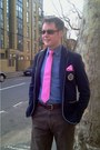 Hot-pink-hermes-scarf-navy-zara-blazer-dark-brown-ray-ban-sunglasses