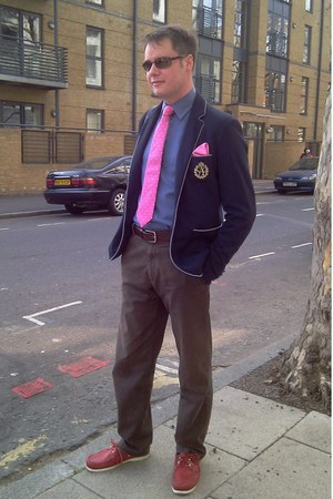 hot pink T M Lewin tie - navy Zara blazer - hot pink Hermes scarf