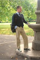 black Converse shoes - beige Gap pants - blue Tommy Hilfiger cardigan - blue Haw